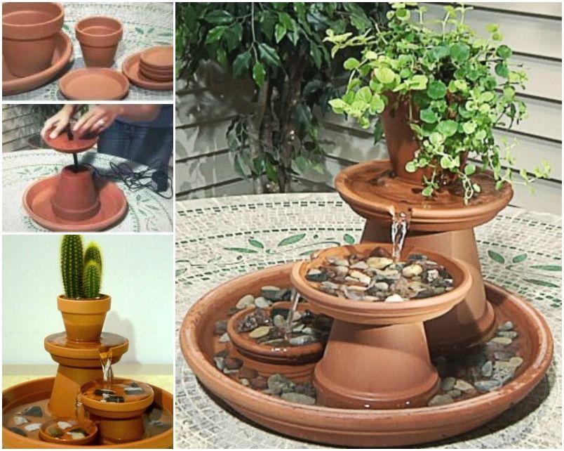 Creative Ideas DIY Terracotta Pot Fountain Gardens Creative