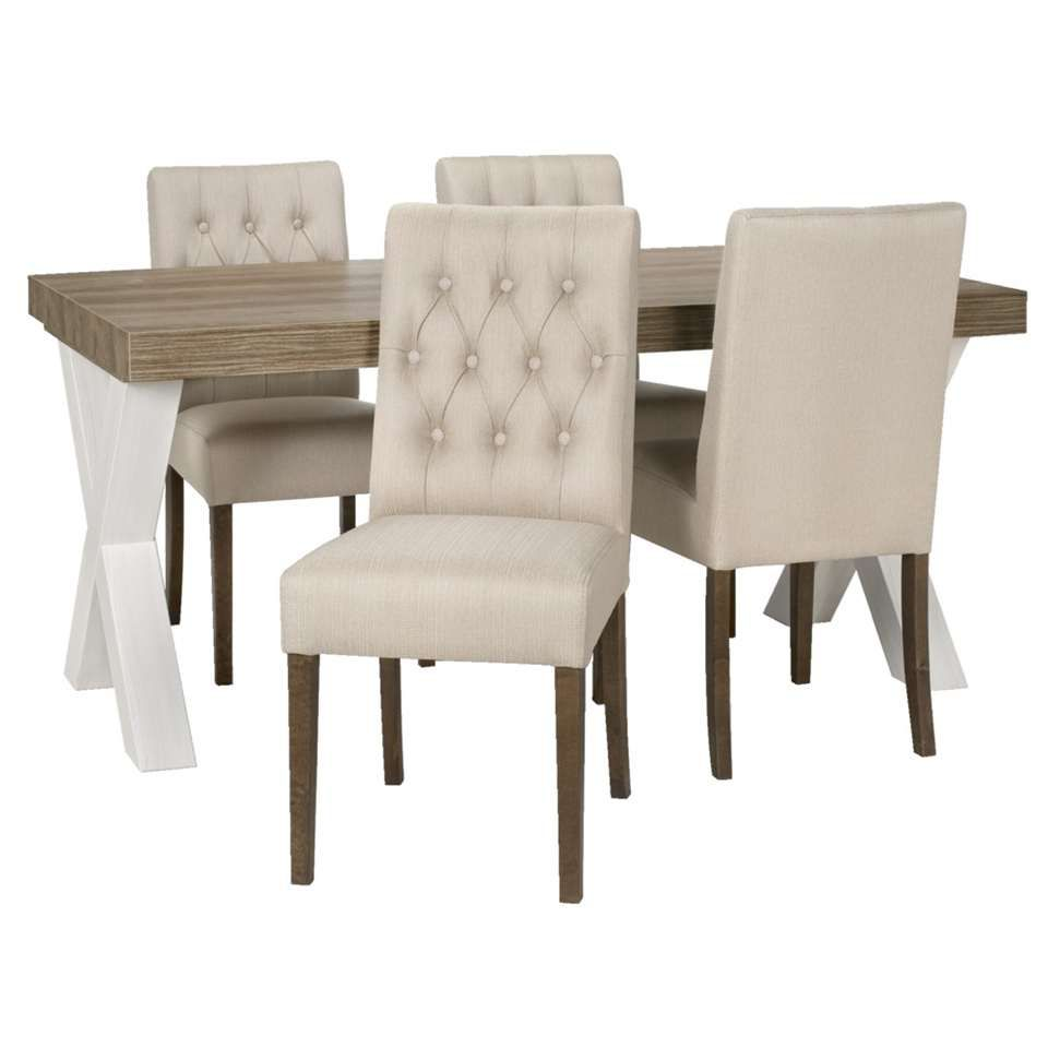 Eetkamertafel Lynn met 4 stoelen Sinatra  beige  Leen