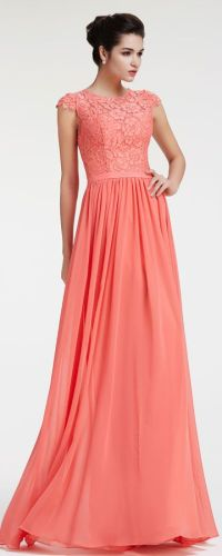 Lace Chiffon Modest Coral Bridesmaid Dresses Cap Sleeves ...
