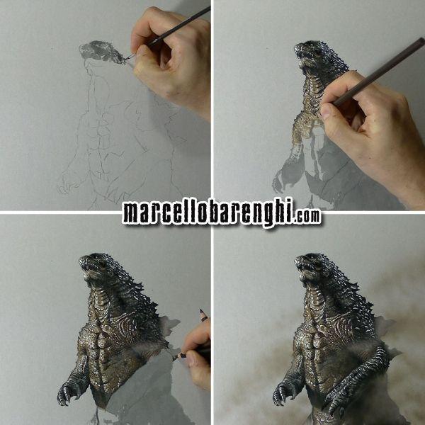 Marcello Barenghi Godzilla ゴジラ Gojira drawing phases