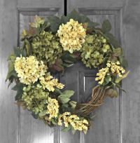 Summer Wreath, Front Door Wreaths, Green Hydrangea Wreath ...