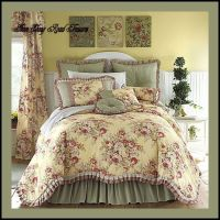 11 king buttery yellow floral toile comforter set | Floral ...