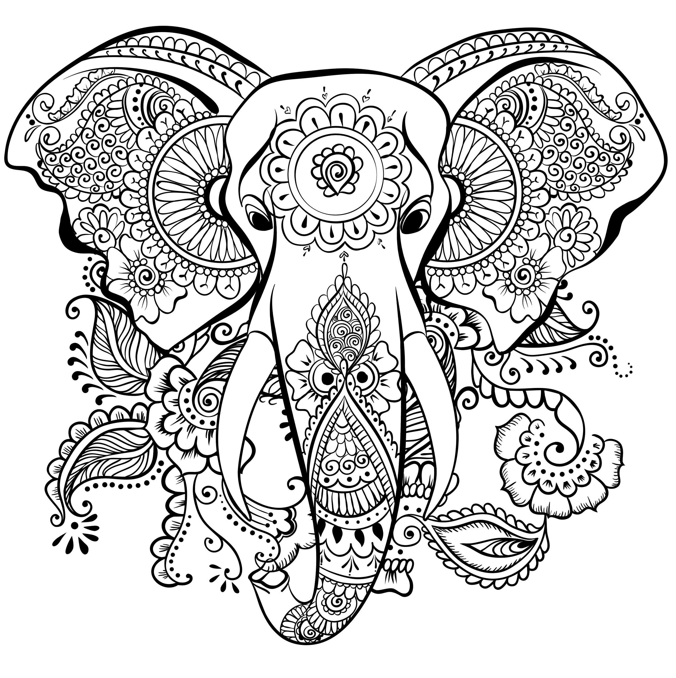 Elefant Ausmalbild Erwachsene Mandalas Pinterest