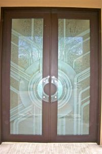 etched glass door geometric art deco contemporary glass ...