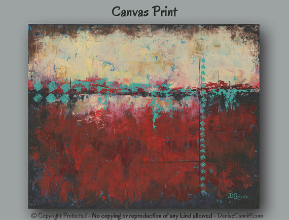 Canvas print of original abstract painting large wall art red also rh za pinterest