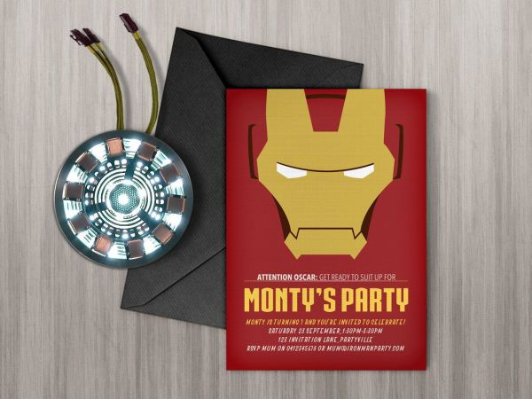 Free Printable Avengers Iron Man Birthday Invitations