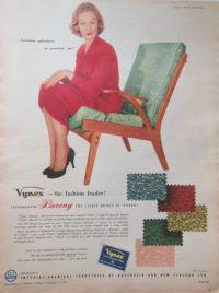 VYNEX RETRO MID CENTURY CHAIR AD 1957 original vintage ...