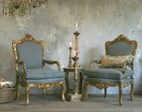 Vintage French Louis XV Style Gilt Ornate Rococo Armchairs