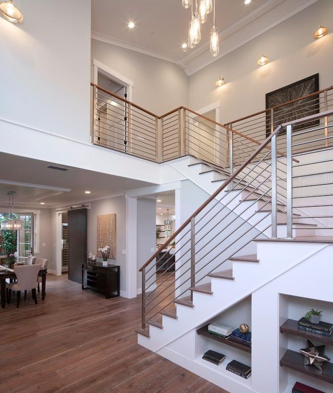 Contemporary Staircase with Modern Interior Railing, High