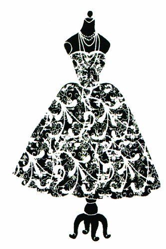 Dress silhouette on dress form rubber stamp by