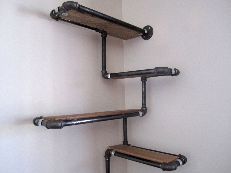Pipe Wall Shelf with Reclaimed Wood, Custom Pipe Shelves