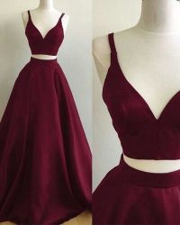 two pieces burgundy prom dresses, formal dresses, wedding ...