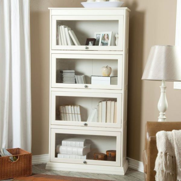 Cheap White Book Shelf With Doors Bookcase Glass Barrister