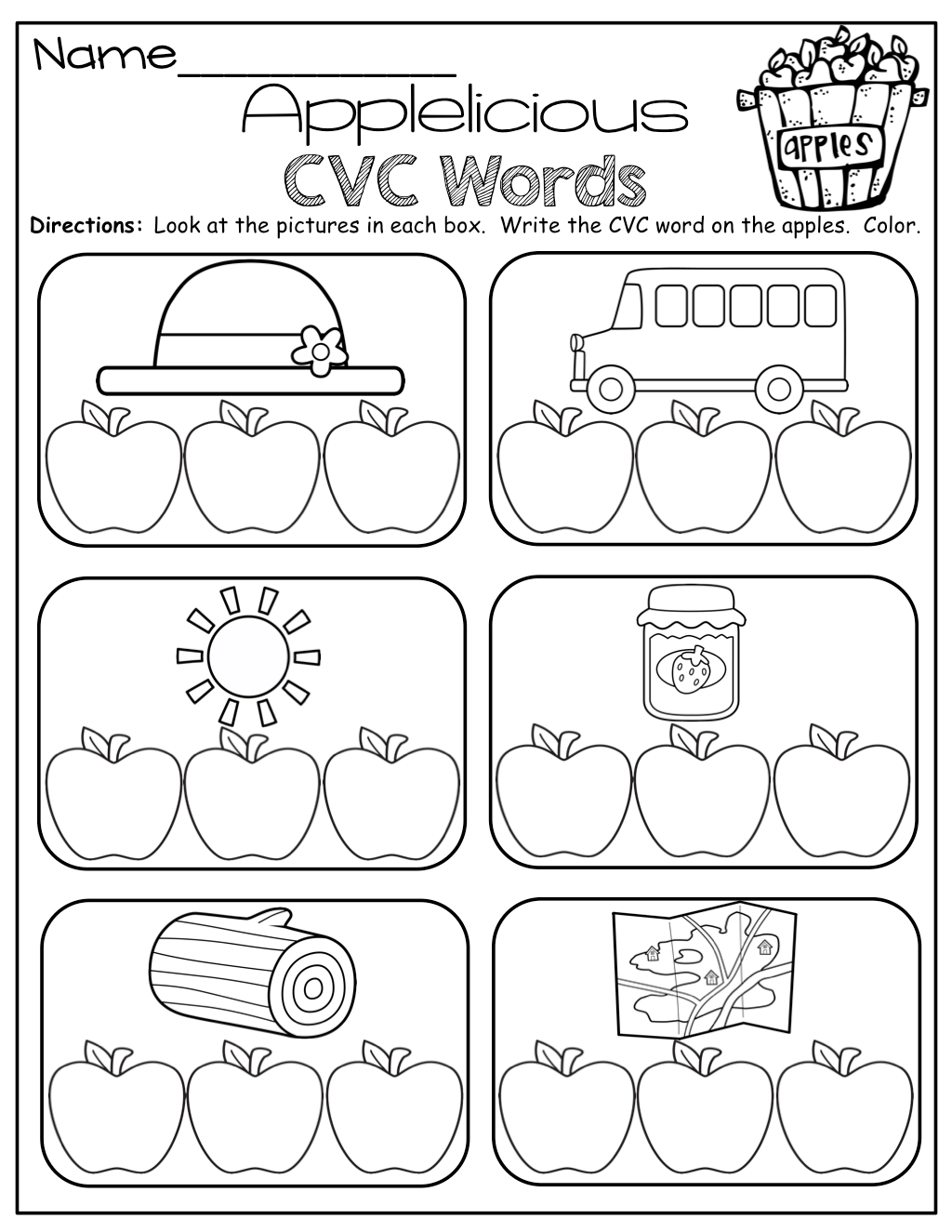 Cvc Words Write The Letter To Match The Picture For Each Cvc Word