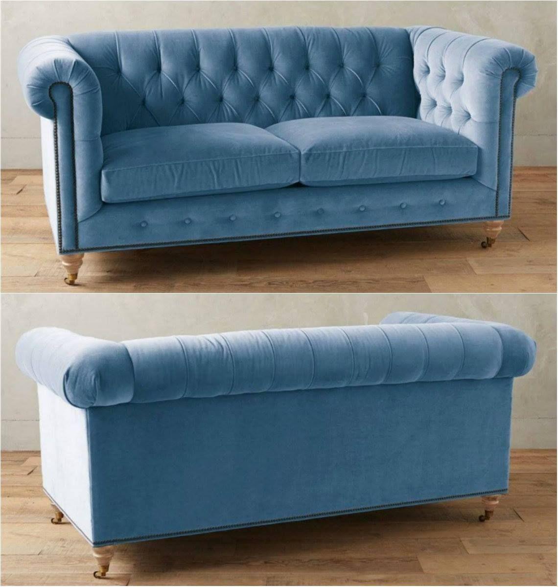 Sky Blue Tufted Velvet Chesterfield Sofa!