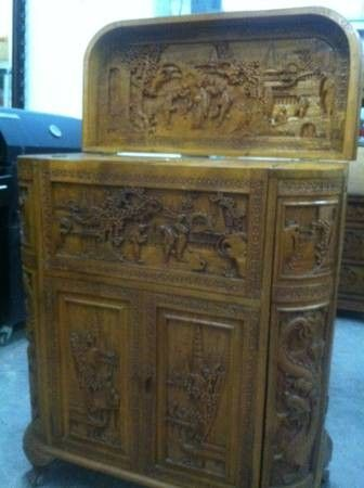 ANTIQUE HAND CARVED ASIAN COCKTAIL CABINET  450 for Sale