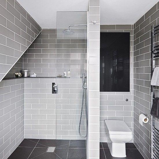 Grey modern wet room with metro tiles  Metro tiles