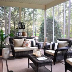 Screen Porch Lounge Chairs Owl Chair Covers The Collected Interior Home Tour Screened With