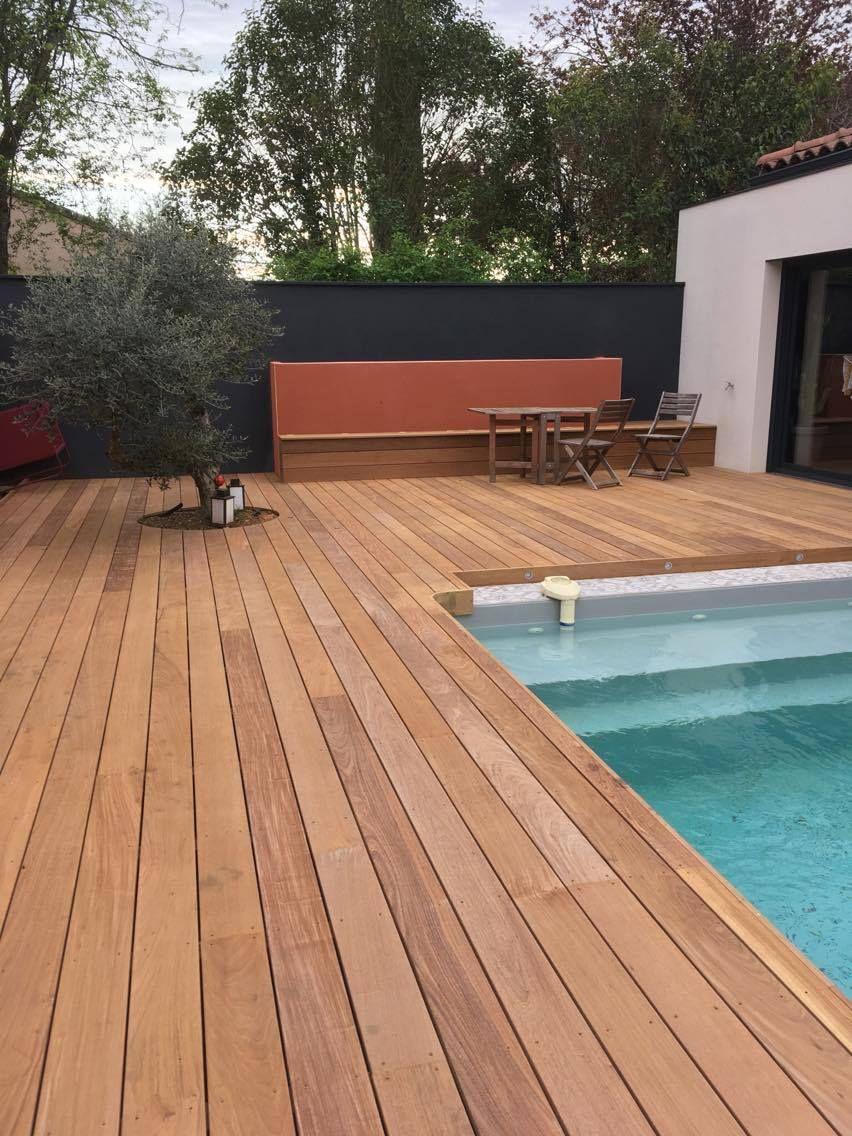 terrasse bois plage piscine bois jardiniere banquette olivier terrasse mur colore jardin mur rouge jardin mur