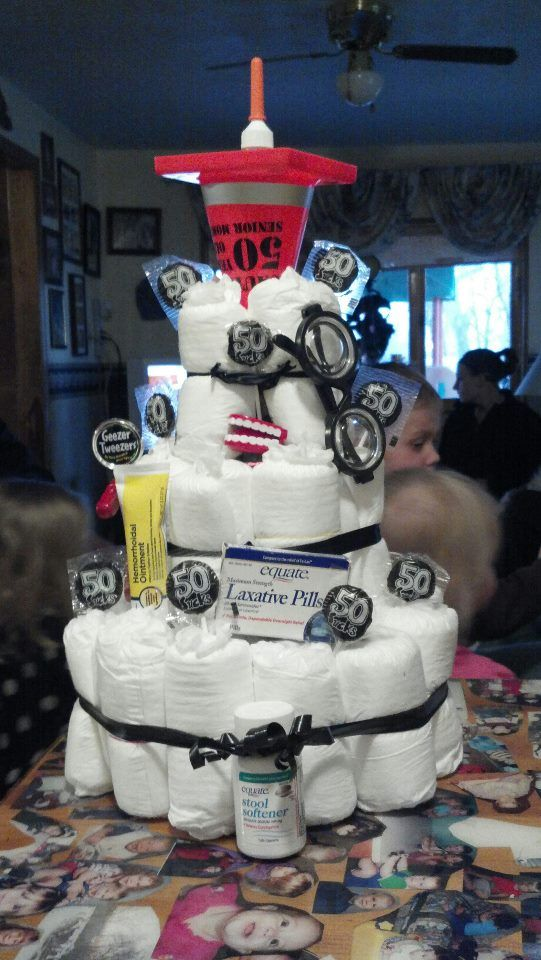 OVER The Hill Depends Diaper Cake I Made For My Dad