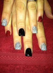 red black and silver nails #redglitter