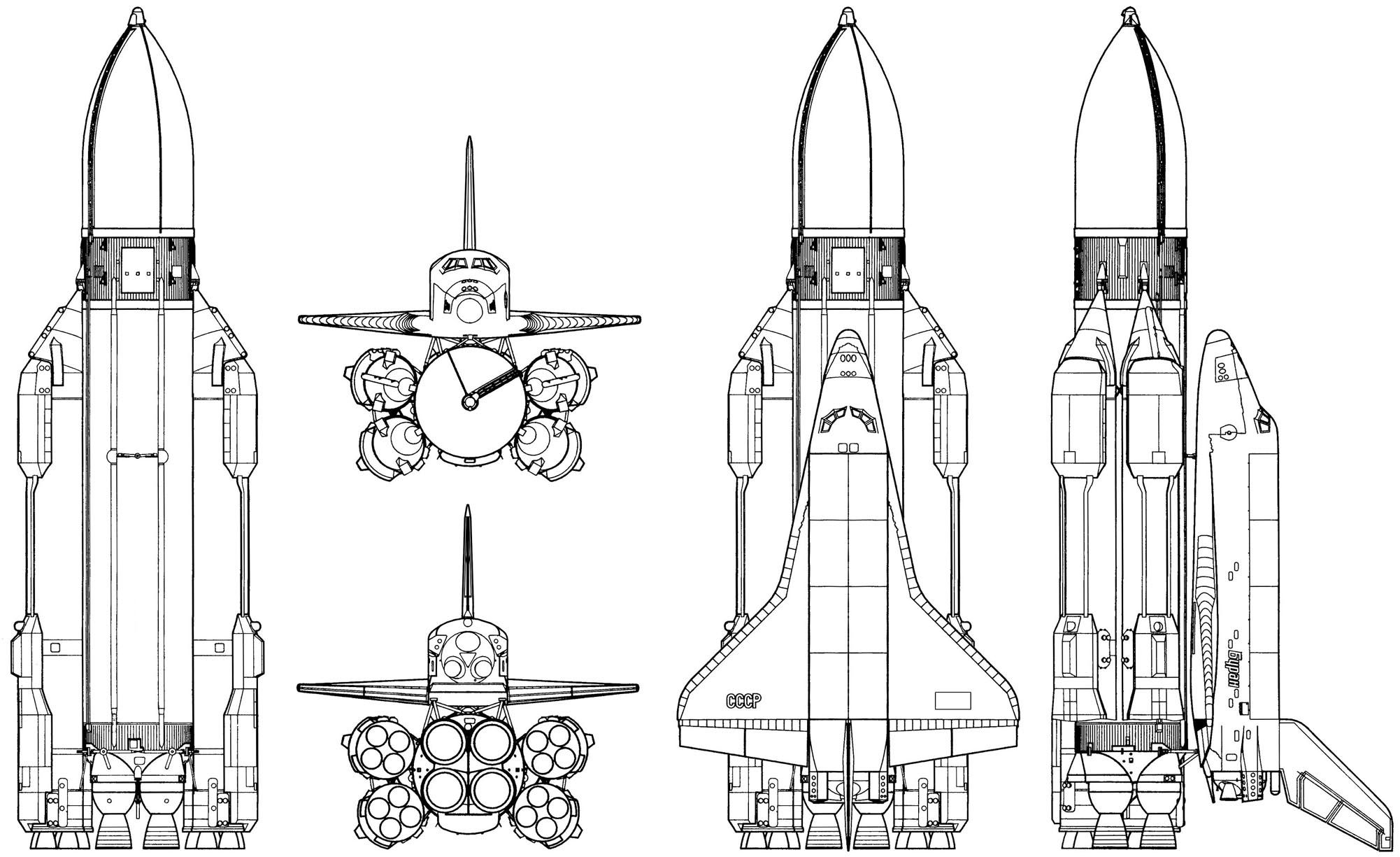 Orthographic Projection Of The Energiya Launch Vehicle