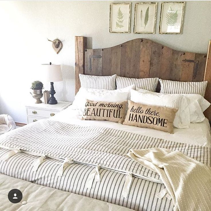 20 Master Bedroom Decor Ideas  Wood headboard Ticking