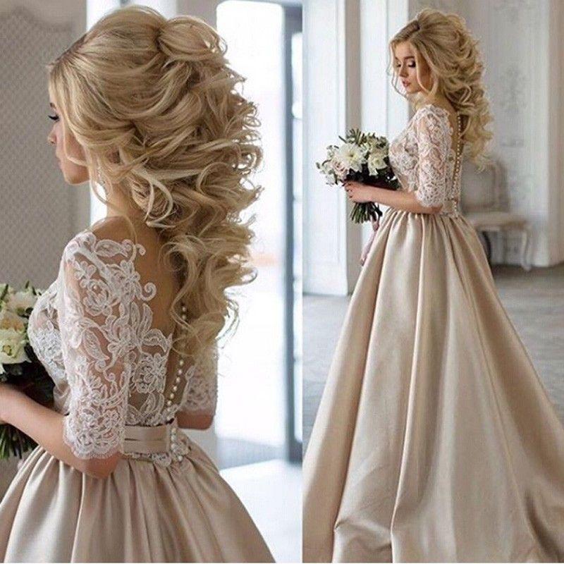 Gentle A Line Scoop Half Sleeves Illusion Back Sash Wedding Dress