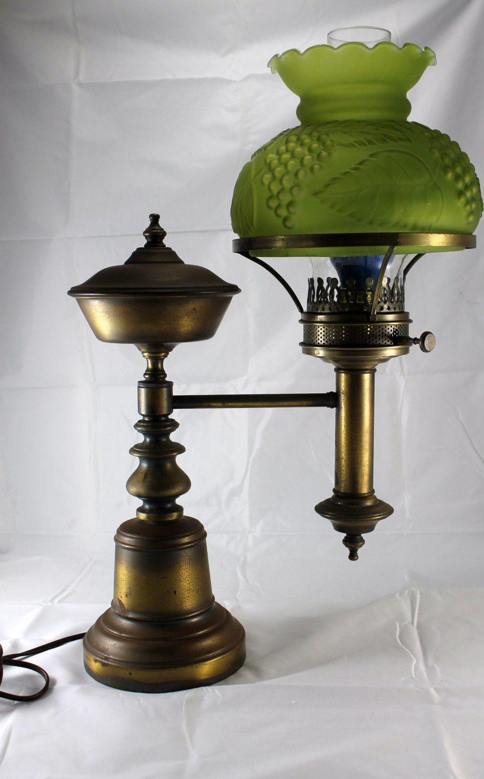 Antique Brass Student Lamp / Original Oil Kerosene Lamp