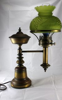 Antique Brass Student Lamp / Original Oil Kerosene Lamp