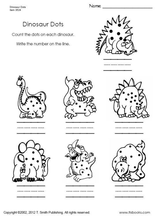 Snapshot image of Counting Dinosaur Dots to 10 worksheet