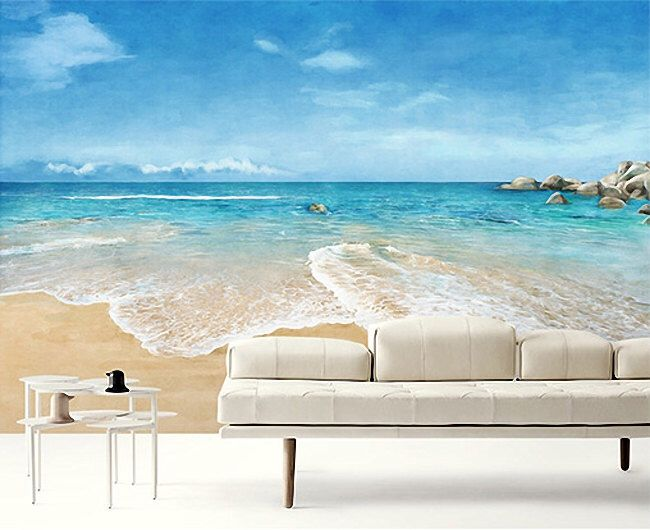 Beach Scene Wallpaper Epic Sea Wall Mural Blue Ocean Wall