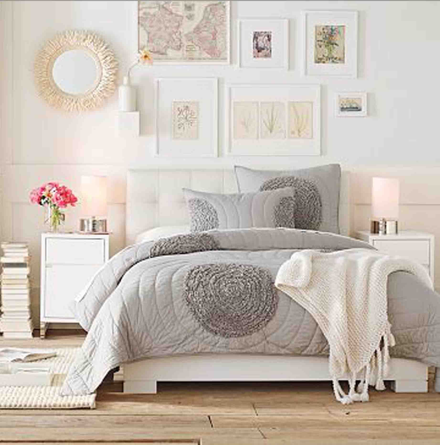 Light And Bright Bedroom Ideas Grey Nutral White
