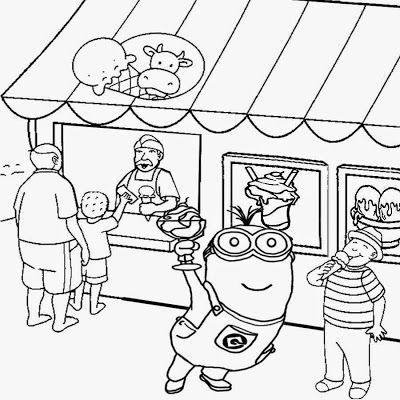 Seaside shop ice cream party two eyed minion coloring