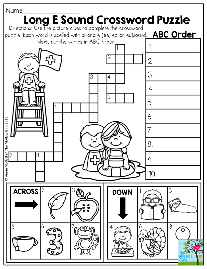 Long E Sound Crossword Puzzle- Use the clues to complete