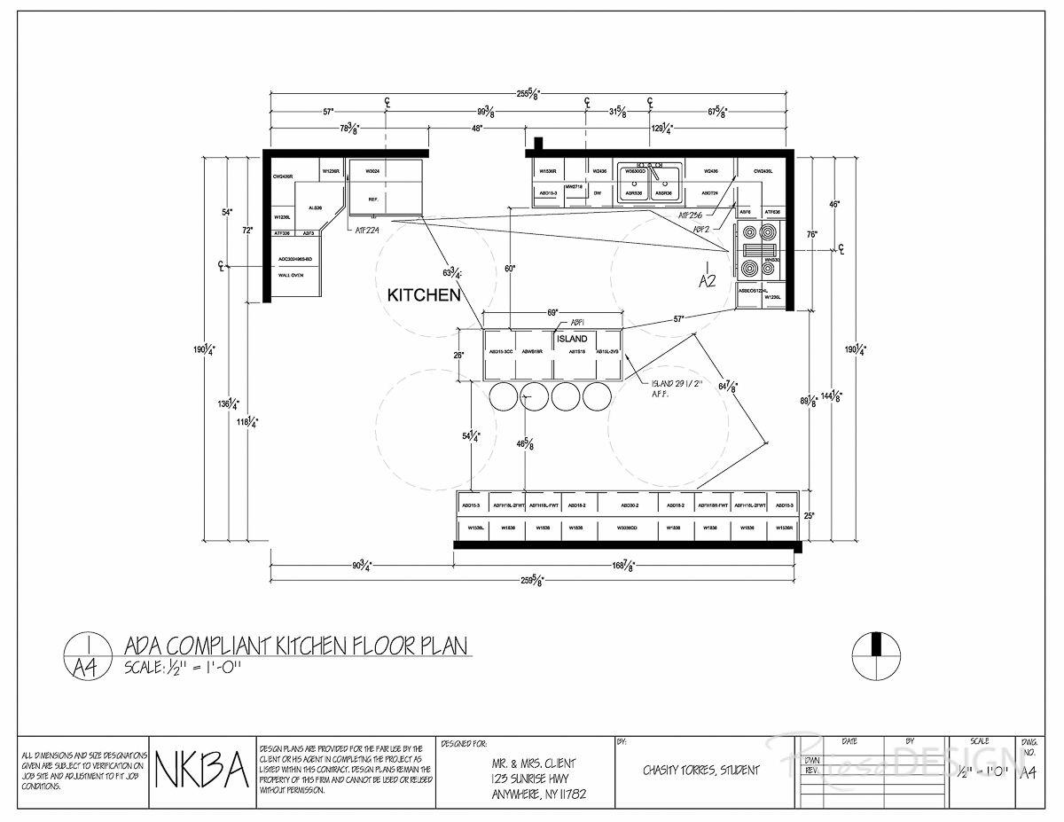 Kitchen Floor Plan  ADA Compliant Kitchen floor plan