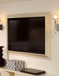 So neat frame  flat screen tv using crown molding also yes for rh pinterest
