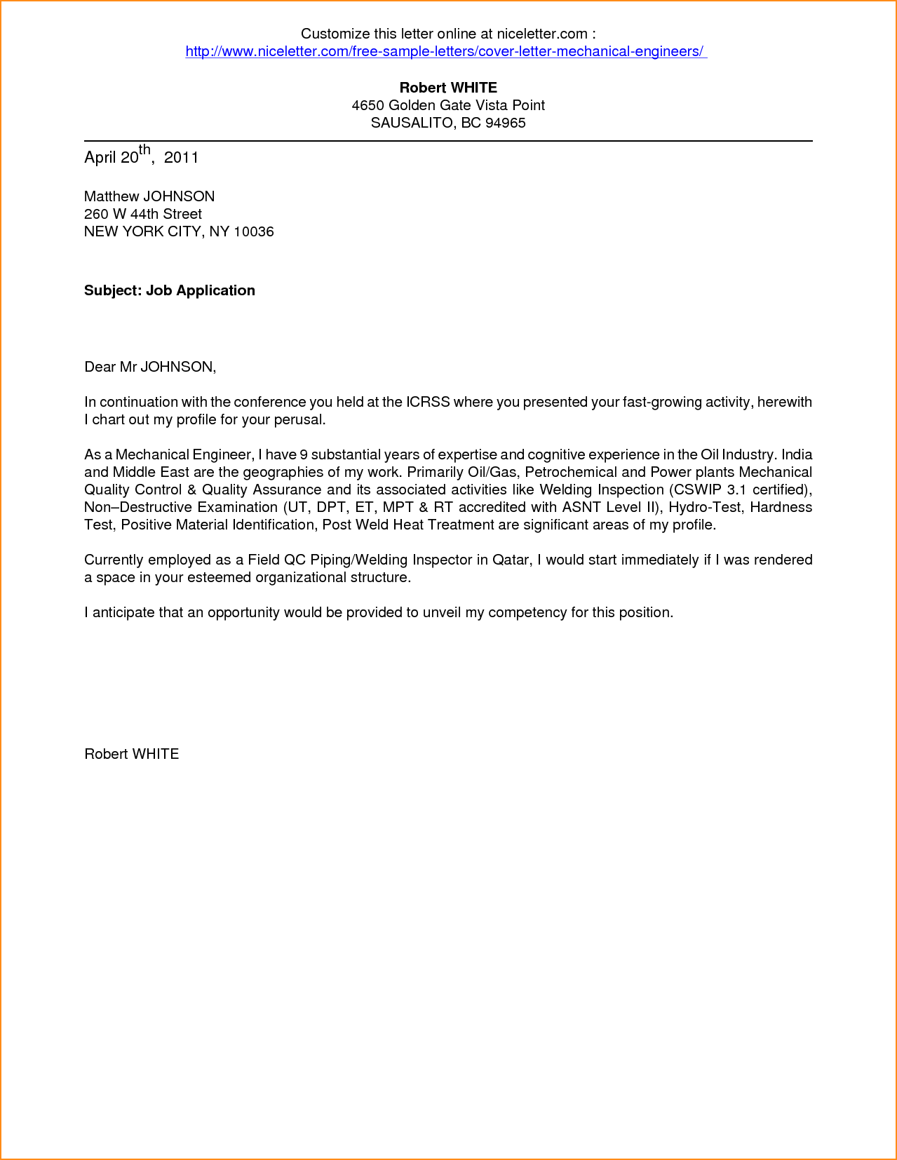 Covering Letter Format For Resume Application For Employment Cover Letter Application