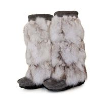 MUKLUKS Indian luxury glamorous big fox fur stitching Long ...