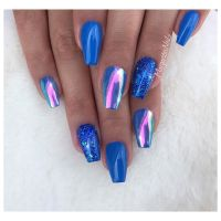 Blue coffin nails Rainbow chrome nail art design