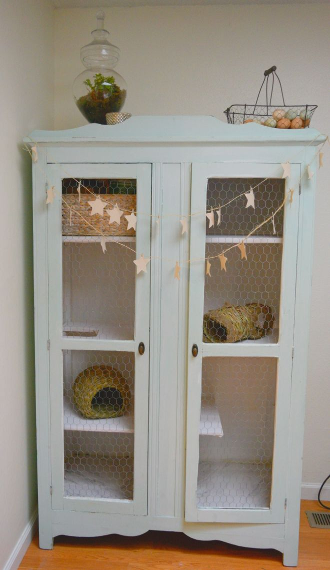 Diy armoire rabbit hutch vintage armoire turned indoor