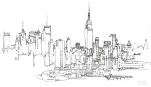 drawing cityscape york line drawings pen ink outline skyline nyc pencil sketches sketch landscape mighty simple google skylines explore paintingvalley