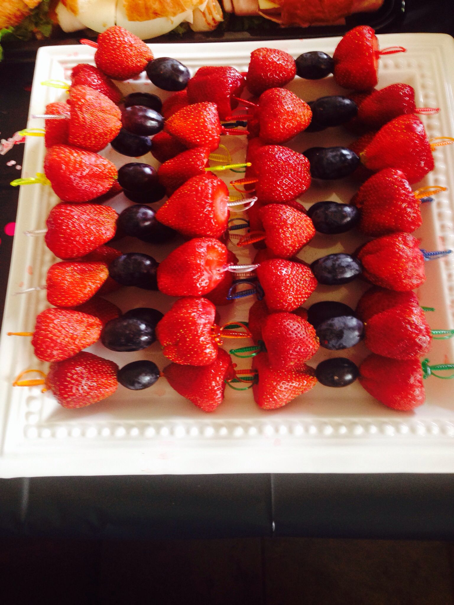 Strawberries and grapes for bow ties