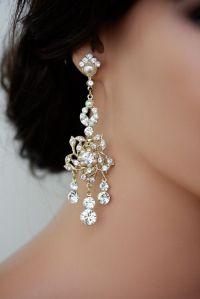 Large Gold Chandelier Earrings Vintage Rhinestone Flower ...