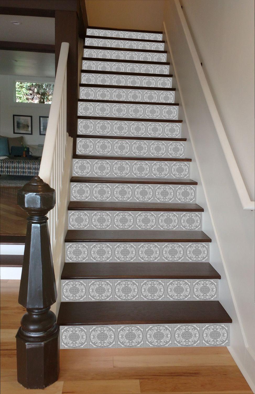Grey Mosaic Tile Painted Stairway, 15 Stairs