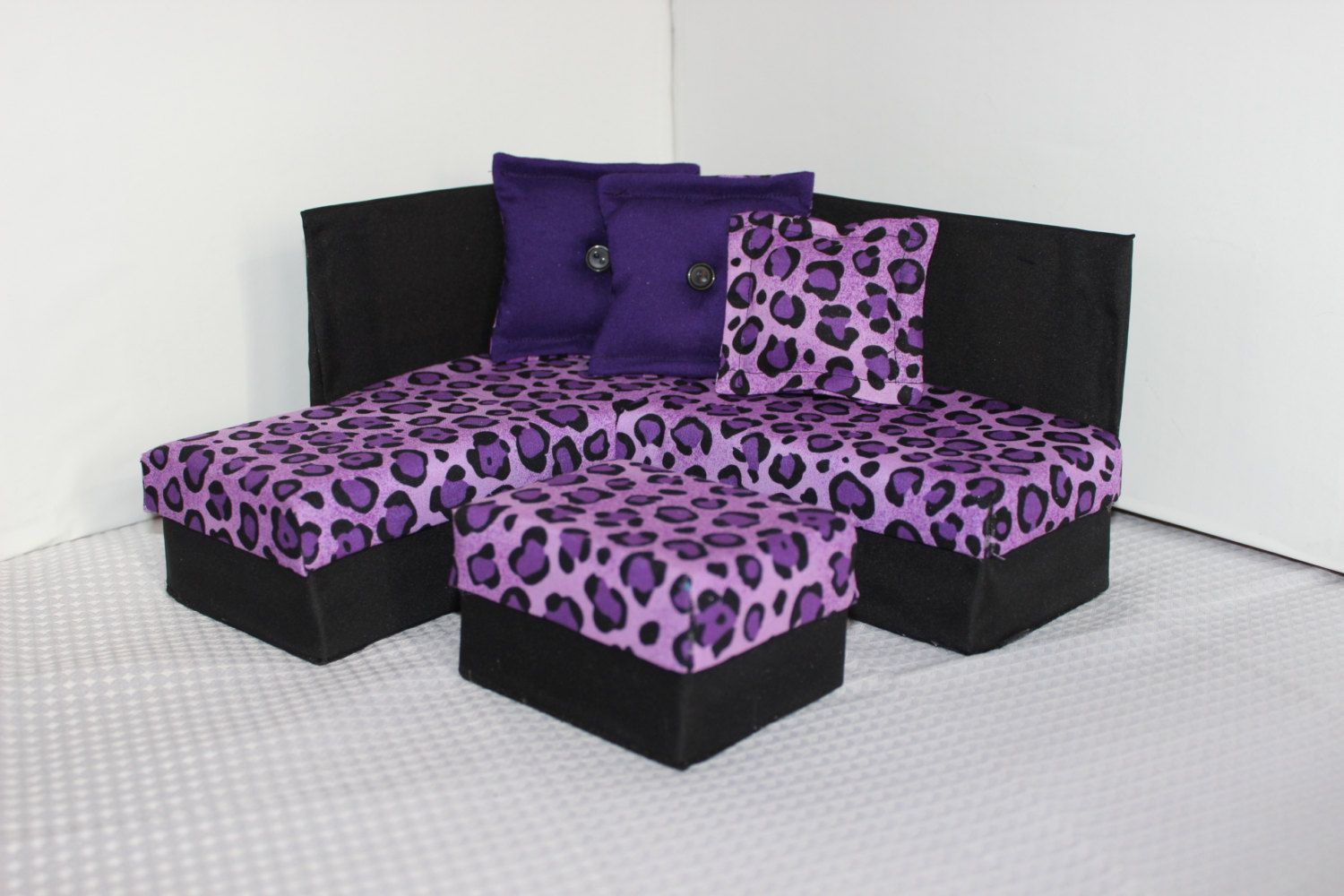 dollhouse miniature sectional sofa reclining loveseat and chair barbie plastic canvas pattern fashion doll dream home
