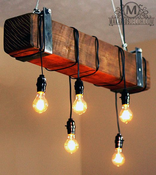 Makarios Decor Rustic Beam Chandelier Barn Light