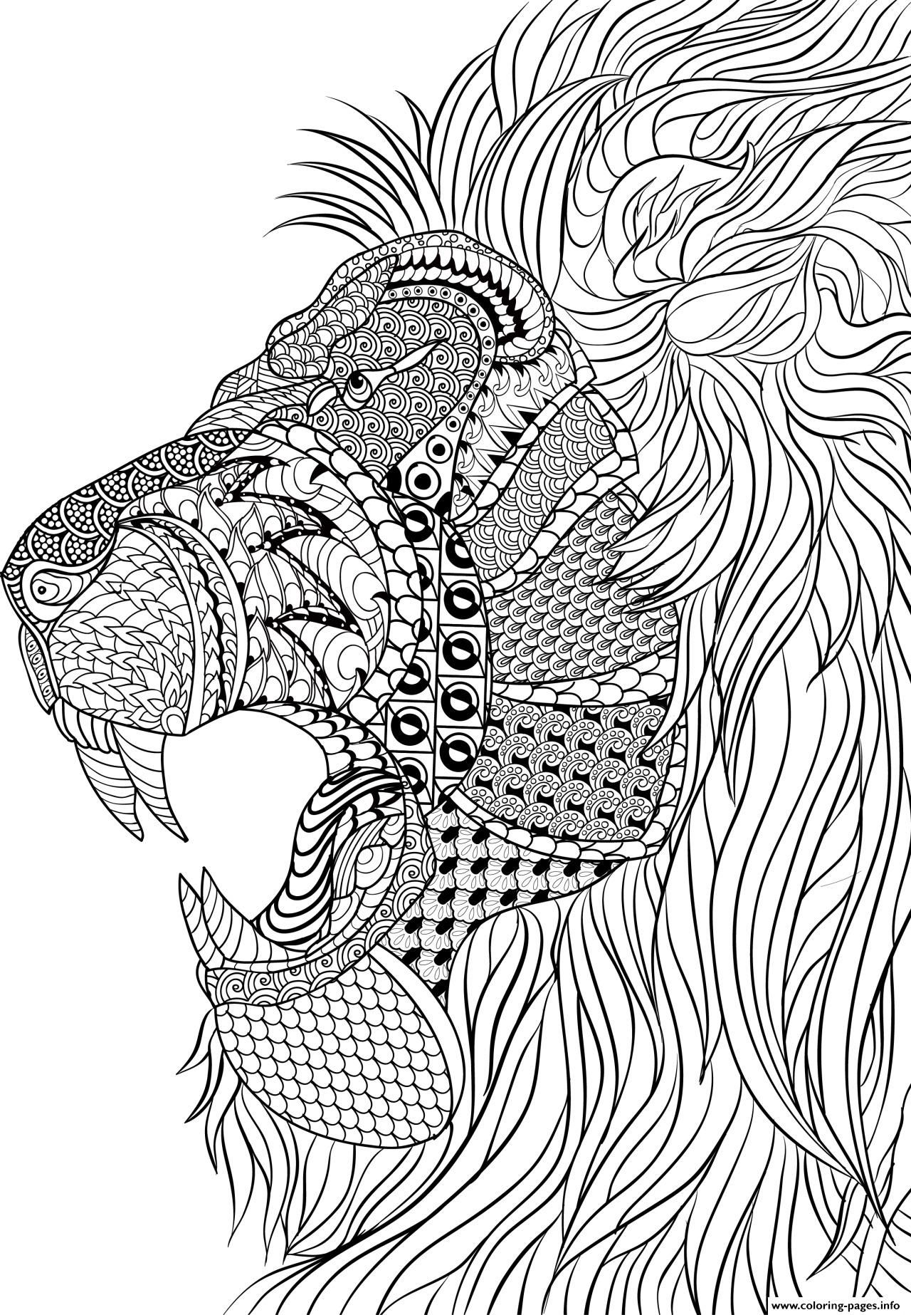 Print Lion Adult Anti Stress Coloring Pages Craft Ideas