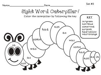 FREE! The Very Hungry Caterpillar Sight Word Color Picture