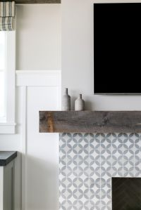 White and grey tiled fireplace design